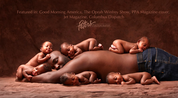 dad and sextuplets