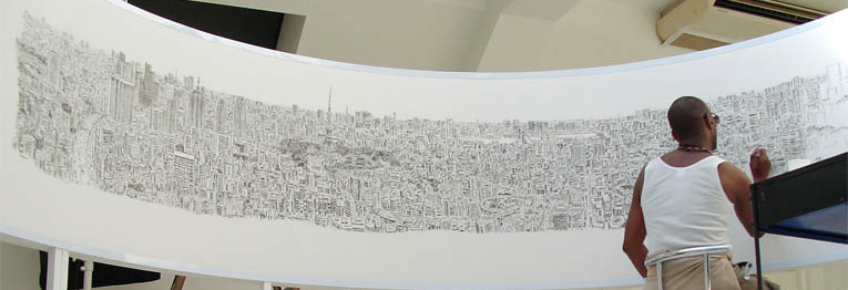 Panorama of Tokyo drawn by Steven Wiltshire accurately from memory!