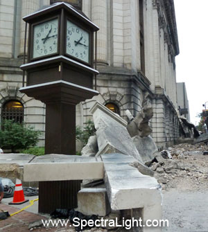 "More ""The Avengers"" movie wreckage on East Ninth Street in Cleveland, Ohio"