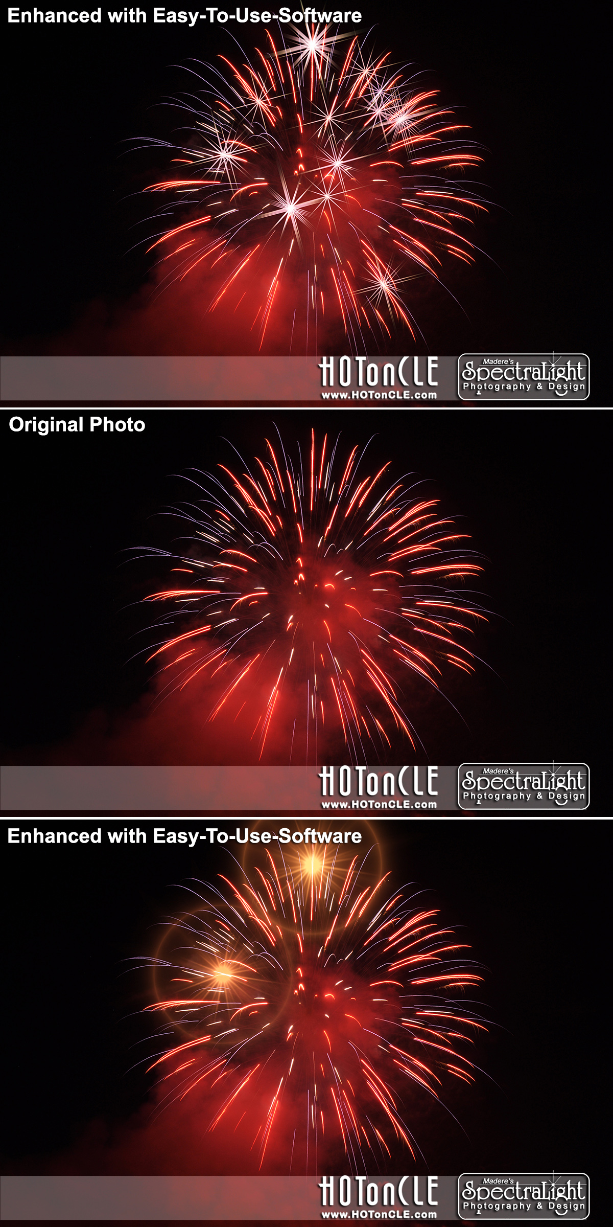 Fourth of July fireworks get a new look with simple-to-use software that almost anyone can master in minutes! This photo was taken by North Ridgeville photographer, Mark Madere - a portrait and commercial photographer covering Cleveland and Northeast Ohio.