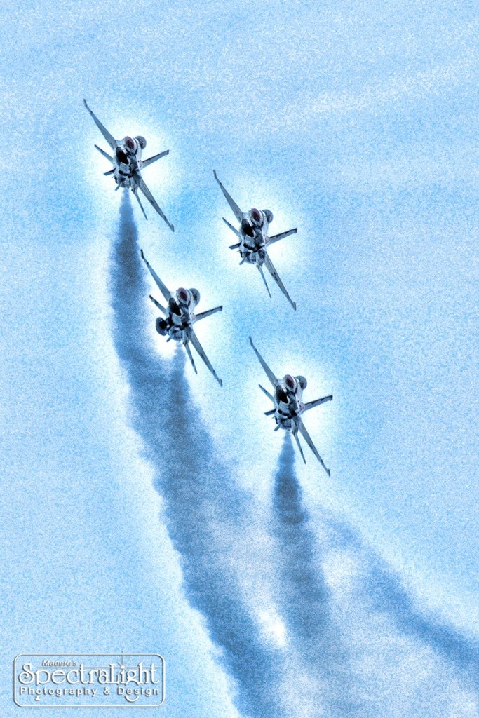 "Photo of the U.S. Air Force Thunderbirds at the Cleveland National Air Show was modified in Photoshop to make the jets ""pop"" against the sky."