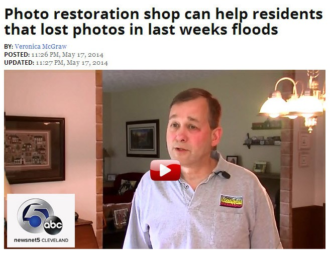 Mark Madere – photo restoration specialist and SpectraLight Photography was interviewed on how to care for flood and water damaged photos on Cleveland's WEWS TV – an ABC News affiliate. See the interview here.