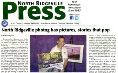 Mark Madere of SpectraLight Photography was featured on the front page of the North Ridgeville Press. SpectraLight Photography relocated to North Ridgeville from Olmsted Falls in 2006 and has served the Greater Cleveland area and Northeast Ohio since 1980. The photography studio creates family portraits, high school senior portraits, executive or business person's portraits, model and actor portfolios, Sweet 16 and Quinceañera events, glamour and boudoir photo shoots as well as photo restoration of faded and damaged pictures.